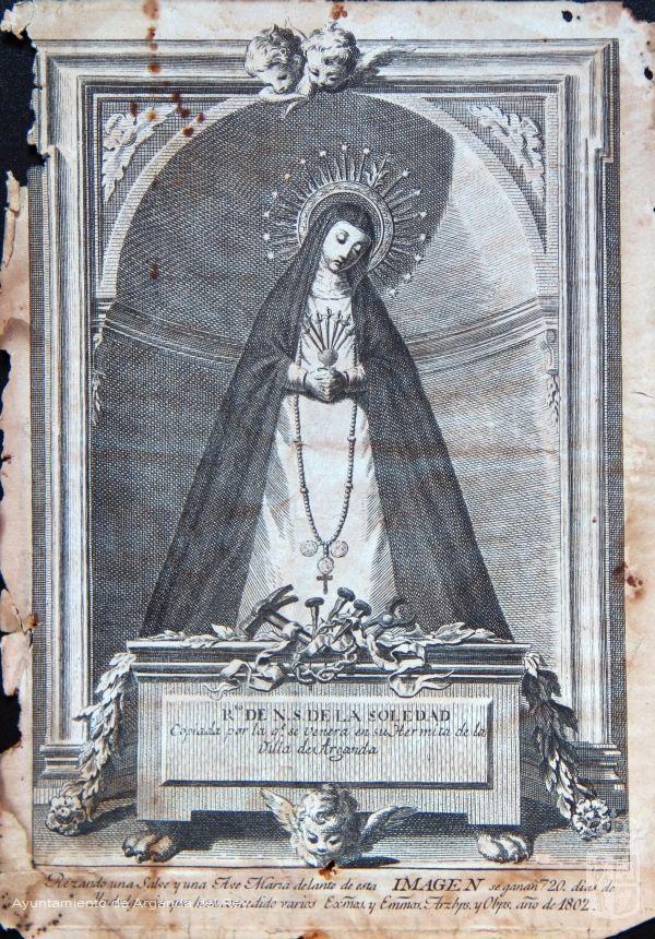 Grabado de la primera Virgen de la Soledad de Arganda.
