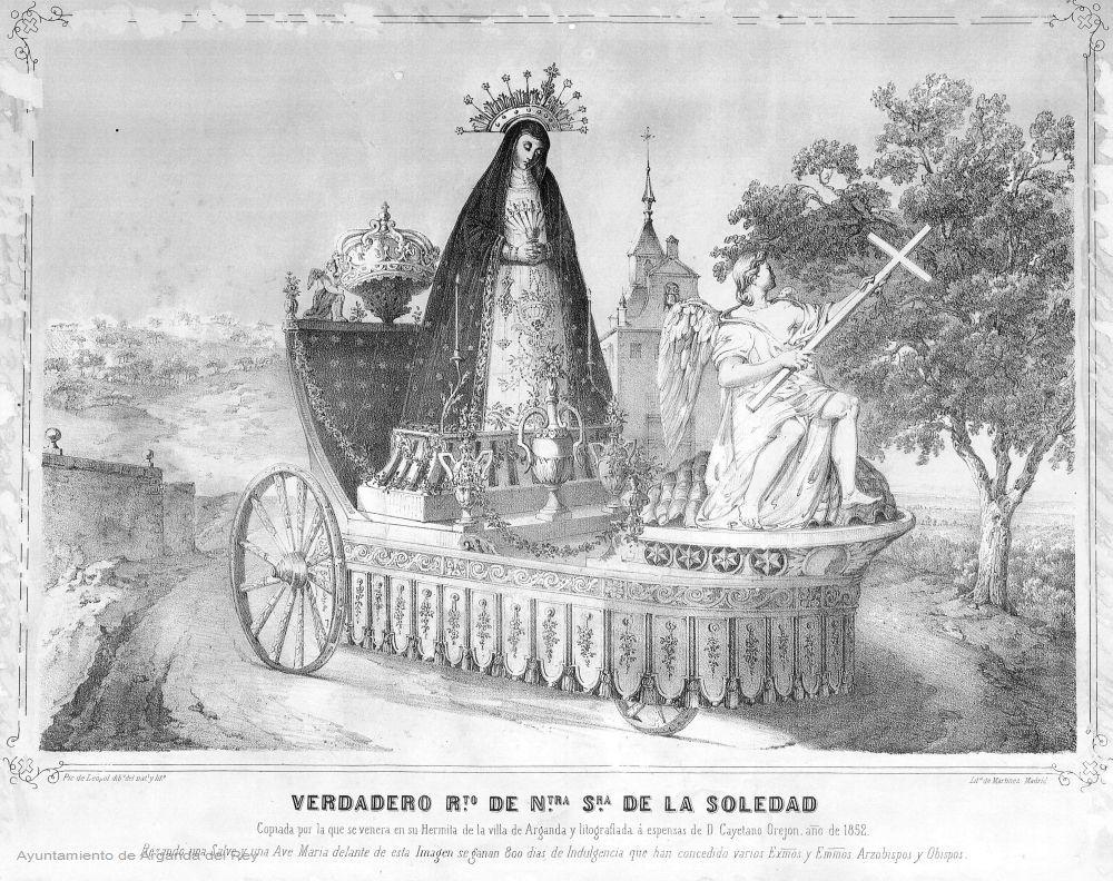 Litografía de la Virgen de la Soledad en carroza.