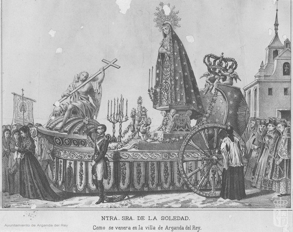 Litografía de la Virgen de la Soledad en procesión .